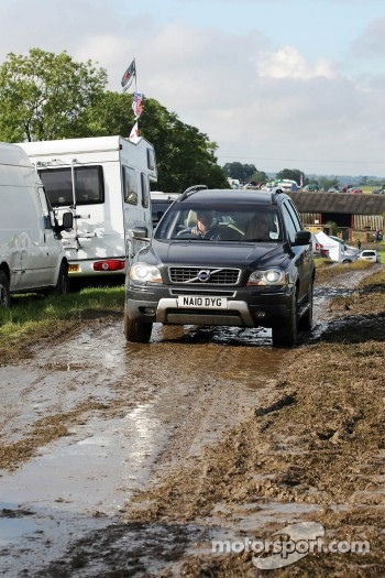Wet and muddy car parks and camp sites at the circuit