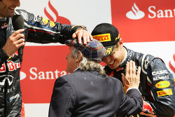 race winner Mark Webber, Red Bull Racing with Jackie Stewart, and Sebastian Vettel, Red Bull Racing on the podium