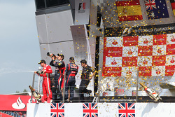 1st place Mark Webber, Red Bull Racing with 2nd place Fernando Alonso, Scuderia Ferrari and 3rd place Sebastian Vettel, Red Bull Racing