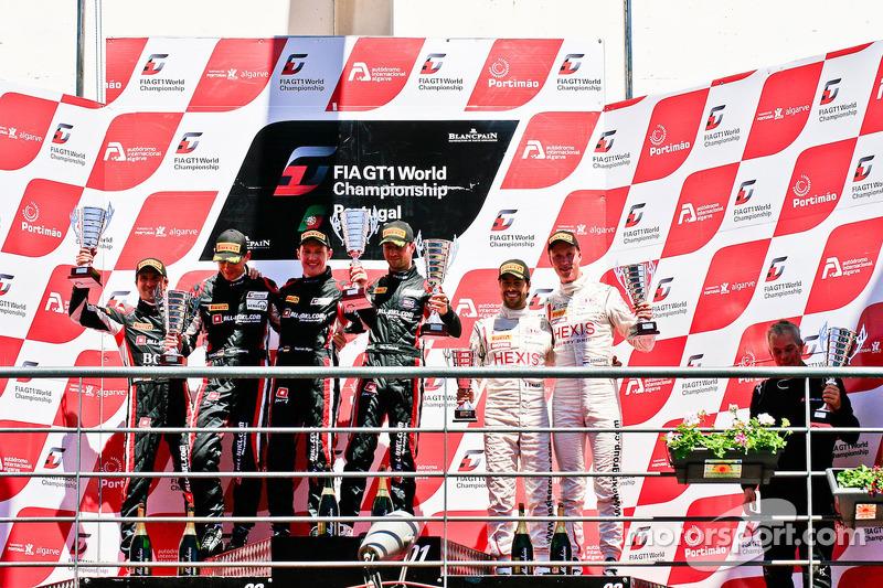 Podium: race winners Thomas Jäger, Nicky Pastorelli, second place Markus Winkelhock, Marc Basseng, third place Frederic Makowiecki, Stef Dusseldorp