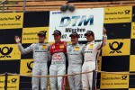 Podium: second place Jamie Green, Team HWA AMG Mercedes, AMG Mercedes, first place Mattias Ekström, ABT Sportsline Audi A5 DTM, third place Bruno Spengler, BMW Team Schnitzer BMW M3 DTM and Gary Paffett, Team HWA AMG Mercedes
