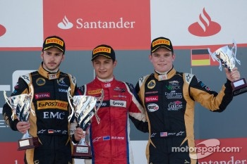 Podium: race winner Mitch Evans, second place Daniel Abt, third place Conor Daly