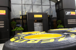 Pirelli tyres outside the Pirelli motorhome