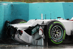 Michael Schumacher, Mercedes AMG F1 crashed in the wet in the first practice session