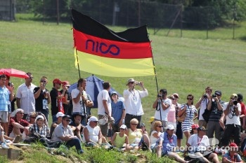 Fans on the grassy banks with a german flag
