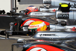Pole sitter Lewis Hamilton, McLaren  and team mate Jenson Button, McLaren  in parc ferme