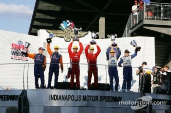 Podium: race winners Alex Popow, Sébastien Bourdais, second place Max Angelelli, Ricky Taylor, third place Scott Pruett, Memo Rojas