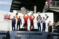 Podium: race winners Alex Popow, Sébastien Bourdais, second place Max Angelelli, Ricky Taylor, third place Scott Pruett, Memo Rojas