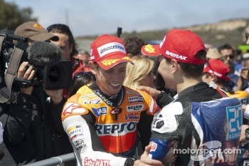 Race winner Casey Stoner, Repsol Honda Team, second place Jorge Lorenzo, Yamaha Factory Racing
