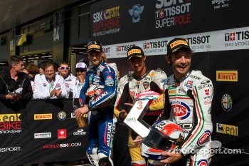 Superpole, From, left:, Leon, Camier,, Jakub, Smrz, and, Sylvain, Guintoli