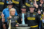 Victory lane: race winner Marcos Ambrose celebrates with Richard Petty