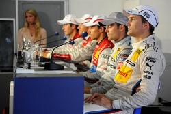 Press conference; Dirk Werner, Team HWA AMG Mercedes; Filipe Albuquerque, Audi Sport Team Rosberg; Timo Scheider, ABT Sportsline; Mike Rockenfeller, Audi Sport Team Phoenix Racing