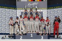 LMP1 podium: race winners Andre Lotterer, Benoit Tréluyer, Marcel Fässler, second place Nicolas Lapierre, Kazuki Nakajima, Alexander Wurz, third place Allan McNish, Tom Kristensen