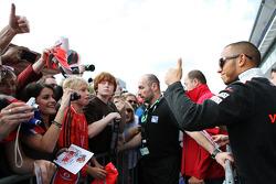 Lewis Hamilton, McLaren with the fans