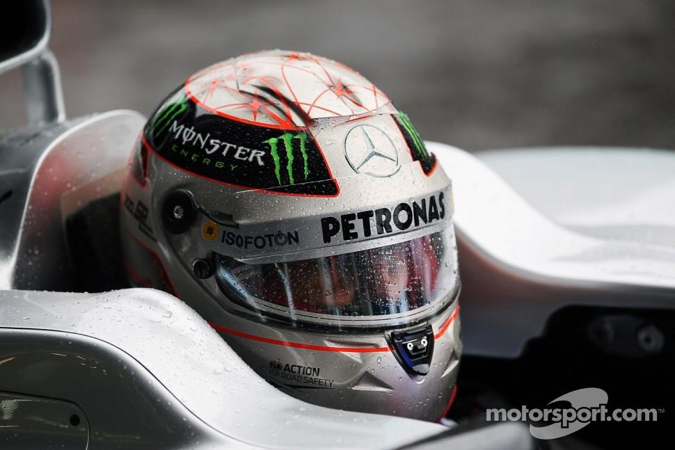Michael Schumacher, Mercedes AMG F1 with a 300GP helmet livery