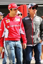 Felipe Massa, Ferrari with Kamui Kobayashi, Sauber on the drivers parade