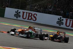 Nico Hulkenberg, Sahara Force India Formula One Team and Mark Webber, Red Bull Racing