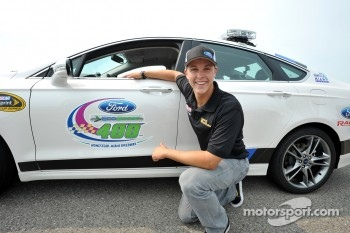 Trevor Bayne test drives the 2013 Ford Fusion pace car to be used for the season finale at Homestead