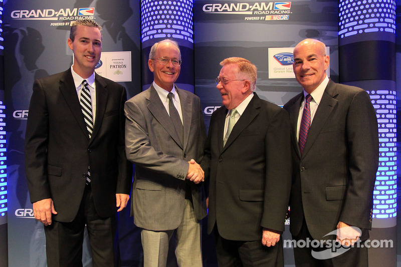 Ed Bennett, President and CEO of Grand-Am, Jim France, Don Panoz and Scott Atherton, President and CEO of ALMS