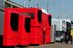 Ferrari trucks in the paddock