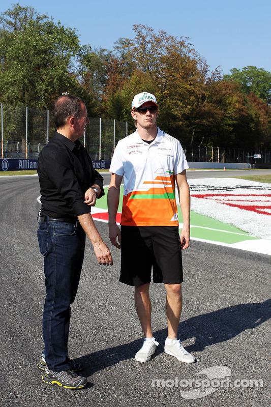 Nico Hulkenberg, Sahara Force India F1 walks the circuit with Martin Brundle, Sky Sports Commentator