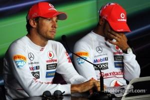 Post qualifying FIA Press Conference, Jenson Button, McLaren, second; Lewis Hamilton, McLaren, pole position