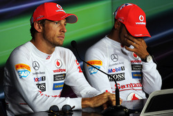 Post qualifying FIA Press Conference, Jenson Button, McLaren, second; Lewis Hamilton, McLaren, pole position