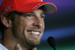 Second placed Jenson Button, McLaren in the post qualifying FIA Press Conference