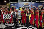 Victory lane: race winner Clint Bowyer, Michael Waltrip Racing Toyota
