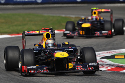 Sebastian Vettel, Red Bull Racing leads team mate Mark Webber, Red Bull Racing