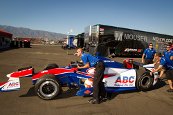 Car of Wade Cunningham, A.J. Foyt Racing Honda at technical inspection