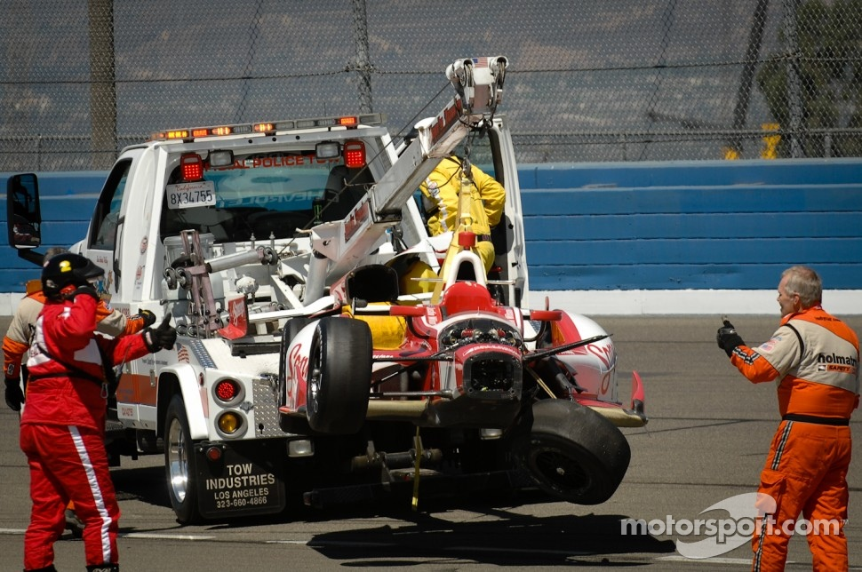 Crashed car of Justin Wilson, Dale Coyne Racing Honda