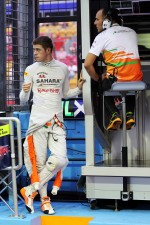 Paul di Resta, Sahara Force India F1 on the pit gantry with Gianpiero Lambiase, Sahara Force India F1 Engineer