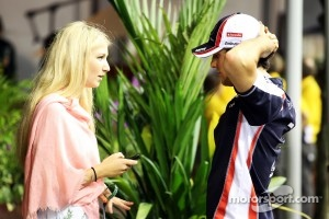 Bruno Senna, Williams with his girlfriend Charlotte Evans