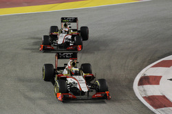 Pedro De La Rosa, HRT Formula 1 Team leads team mate Narain Karthikeyan, HRT F1 Team HRT