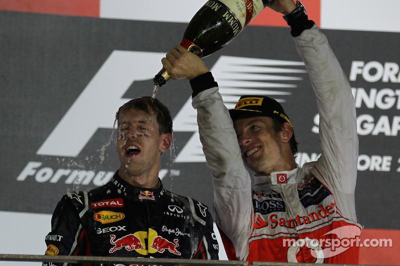 Podium: race winner Sebastian Vettel, Red Bull Racing, second place Jenson Button, McLaren Mercedes