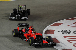 Timo Glock, Marussia F1 Team leads Bruno Senna, Williams