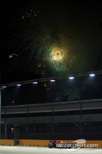 Race winner Sebastian Vettel, Red Bull Racing with fireworks in the sky