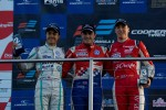 Podium from left: Jazeman Jaafar, Jack Harvey and Alex Lynn
