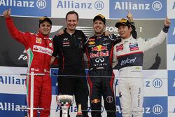 Podium: race winner Sebastian Vettel, Red Bull Racing, second place Felipe Massa, Ferrari, third place Kamui Kobayashi, Sauber