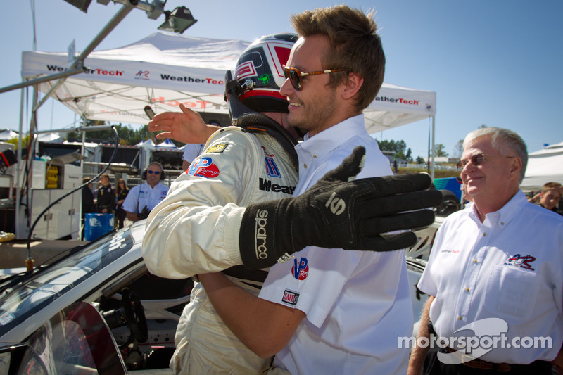 GTC pole winner Leh Keen celebrates with teammate Cooper MacNeil