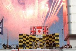 2012 championship podium, 2nd Gary Paffett, Team HWA AMG Mercedes, AMG Mercedes C-Coupe, 1st Bruno Spengler, BMW Team Schnitzer BMW M3 DTM, 3rd Jamie Green, Team HWA AMG Mercedes, AMG Mercedes C-Coupe