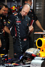 Adrian Newey, Red Bull Racing Chief Technical Officer with Sebastian Vettel, Red Bull Racing