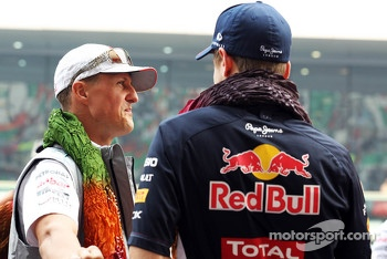 Michael Schumacher, Mercedes AMG F1 with Sebastian Vettel, Red Bull Racing on the drivers parade