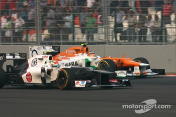 Sergio Perez, Sauber F1 Team and Nico Hulkenberg, Sahara Force India Formula One Team