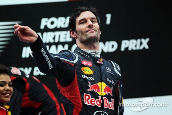 Mark Webber, Red Bull Racing celebrates on the podium
