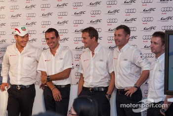 Audi drivers from left to right: Andre Lotterer, Marcel Fssler, Benoit Trluyer, Tom Kristensen, Allan McNish