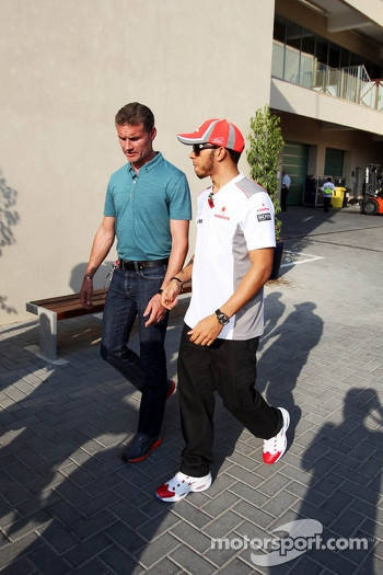 David Coulthard, Red Bull Racing and Scuderia Toro Advisor / BBC Television Commentator with Lewis Hamilton, McLaren