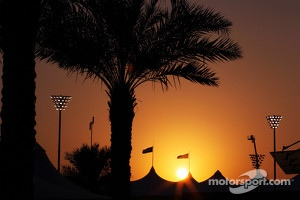 The sun sets over the circuit