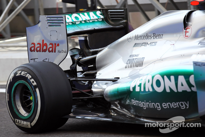 Michael Schumacher, Mercedes AMG F1 rear suspension and rear wing detail